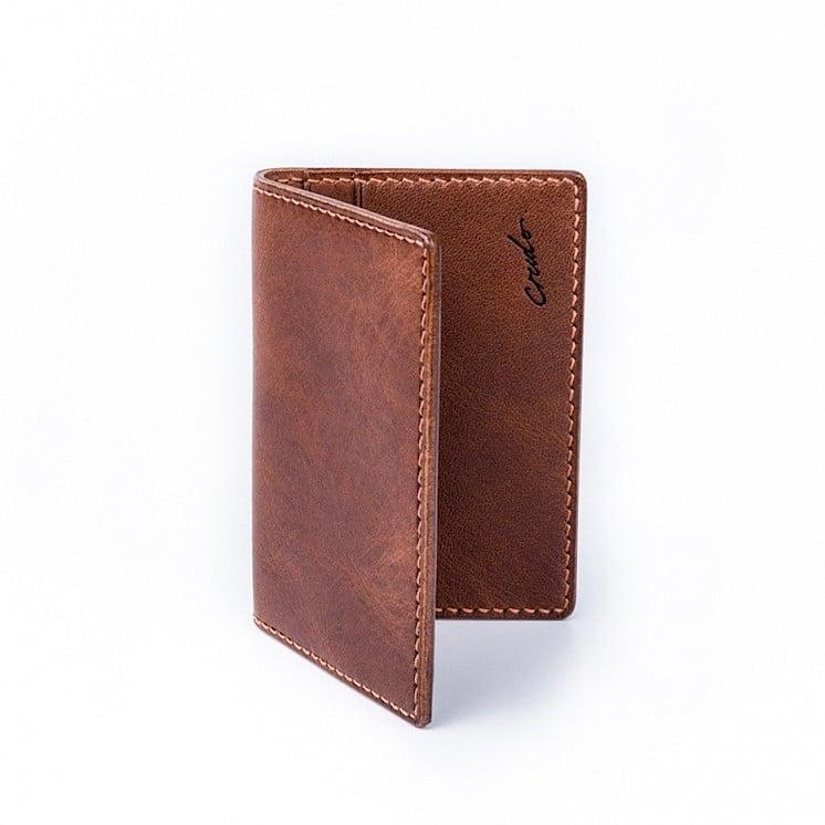 bi folder card holder brown crudo leather craft